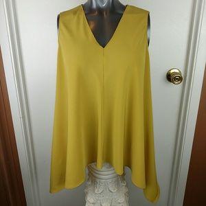 Rachel Rachel Roy asymmetrical mustard top